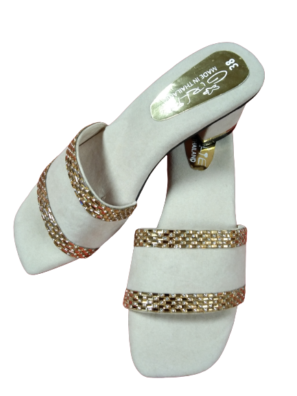 Women's Gold & White Heels