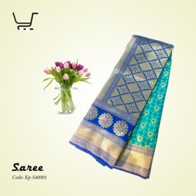 Indian Silk Katan Saree-Blue